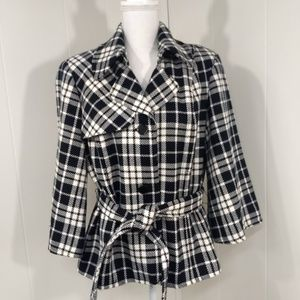 East 5th Womens XL Black White Plaid Belted Bolero